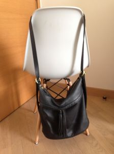 Black leather convertible bag - shoulder