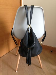 Black leather convertible bag - backpack
