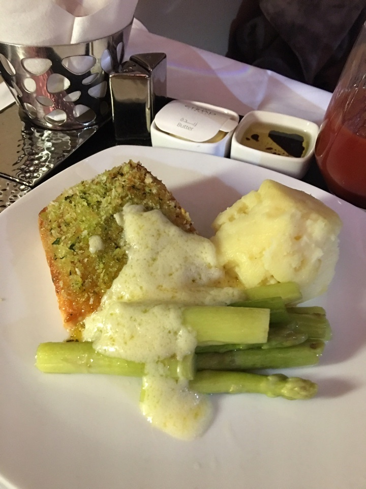 Main course of salmon, mash and asparagus